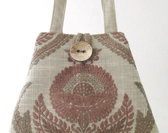 womens handbag, tote bag converts to hobo bag, retro purse, fabric handbag, diaper bag, shoulder bag,  grey  purse, ready to ship