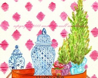 HERMES TRAY & GINGER Jars Print