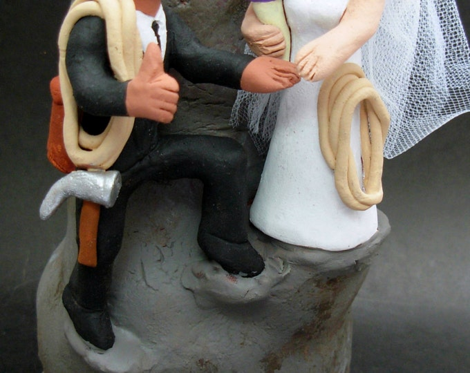 Latin American Groom Marries Caucasian Bride Wedding CakeTopper, Wedding Anniversary Gift for Mountain Climbers, Anniversary Gift for Hikers