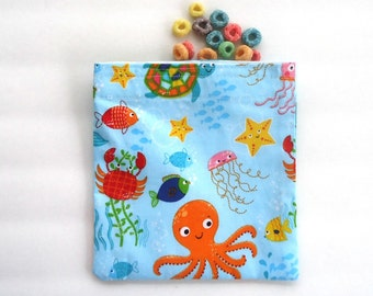 Reusable Sandwich Bag, Snack Bag in Sea Life Print, Octopus, Crabs, Starfish, Whale