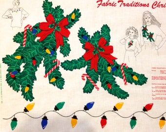CHRISTMAS Applique Fabric ~ HOLLY Candy Cane Holiday Lights Appliqués Panel