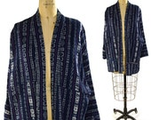 Ikat Duster / Vintage Woven Cotton Tribal Coat in Cobalt Blue / Guatemalan / South American / Artsy Bohemian