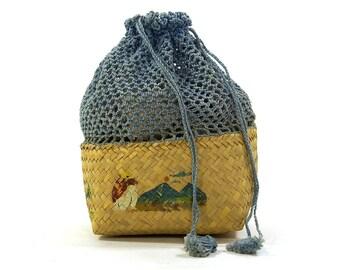 1950s Crochet Basket Purse / Vintage Woven Basket Purse with Folk Painting & Crochet Drawstring