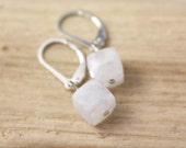 Moonstone Cube Silver Earrings