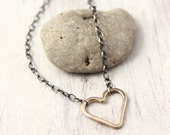 Gold Forged Heart and Oxidized Silver Necklace