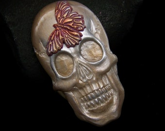 Pearl Skull with Butterfly Skeleton Face Cab handmade Polymer Clay Cabochon Gothic Silver & Gold