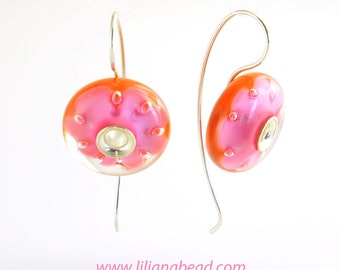 Let the Blossom Happen: Pink and Orange Art Glass Bead Earrings. Free Shipping.