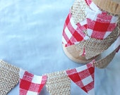 Down On The Farm themed Ribbon roll. Cake stand bunting. Burlap mini bunting on wooden spool. Cake bunting in burlap and red gingham
