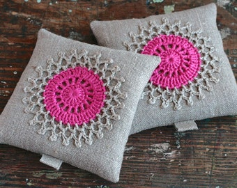 Lavender sachets -- crochet motif -- set of 2