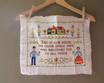 Vintage Welcome To Our House Home  Cross Stitch Embroidery - Finished