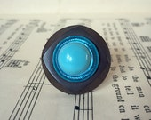 RESERVED Vintage Button Ring - turquoise + brown