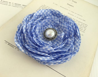 Periwinkle Gingham Flower Hair Clip.Brooch.pin.Hair Accessory.Bridesmaid.Wedding.fascinator.Hair Piece.checkered.checked.Periwinkle Blue