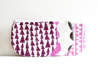 Coin Purse, Small Zipper Pouch, Choice of Colors, Women and Teens, Lotta Jansdotter Fabrics