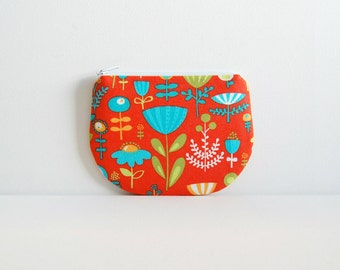 Coin Purse, Small Zipper Pouch, Women and Teens, Poppy Dot Floral in Orange