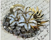 Vintage Collage Brooch Rhinestone Flowers Pin Wearable Art Circle