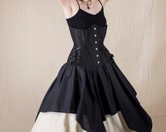 Black Cotton Striped Pixie Skirt Renaissance Halloween Costume