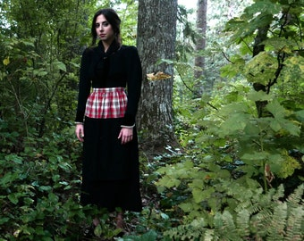 "Wool Skirt with Plaid Apron 30"" Waist"