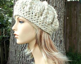 Crochet Hat Wheat Cream Womens Hat - Oversized Monarch Ribbed Beret - Wheat Hat Wheat Beret Wheat Beanie Cream Beret Cream Hat