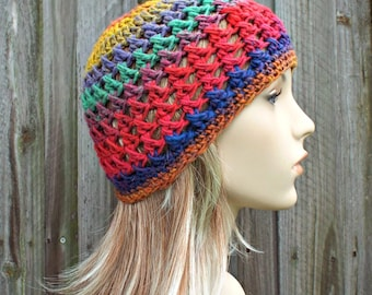 Multi Color Crochet Hat Womens Hat - Criss Cross Beanie in Primary Red Yellow Blue Crochet Hat - Yellow Beanie Red Beanie - READY TO SHIP