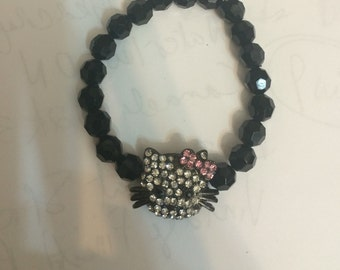 Crystal Face Glam Kitty Black Jet Bead Elasticized Bracelet Size S, M, or L