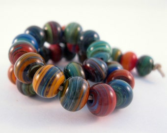 SRA Lampwork Beads Multi Colored Striated Lampwork Beads