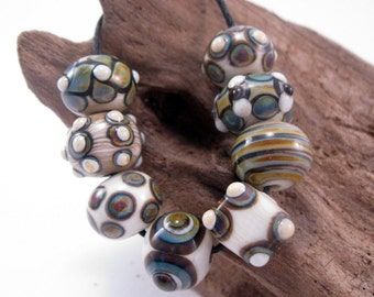 Handmade Ivory and Raku Lampwork Beads SRA