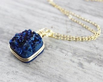 Dark Blue Necklace, Druzy Quartz Necklace, Drusy Gemstone Necklace, Midnight Blue Necklace, Gold Fill, Wire Wrapped Pendant