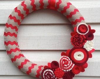 Valentine Wreath - Valentine's Day Wreath - Red Wreath - Ric Rac Ribbon Wreath - Red Valentines Wreath - Felt Flower Wreath - Red Ric Rac