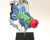 Fish Tabletop Sculpture with Stand Polymer Clay Handmade Decorative Made to Order Whimsical Bluefin Trevaly FS0028