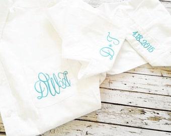 Monogrammed Bride and Bridesmaid Shirts - Bridal Party Shirts - Wedding Day Shirt - Monogrammed Bride Shirt -  With Cuffs