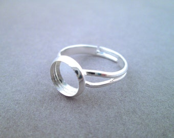 8mm Silver Plated Bezel Adjustable Ring Blanks, pick your amount, A180