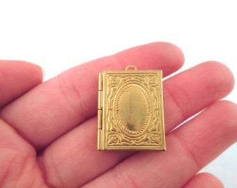 8 raw brass book locket charms, 26x20mm