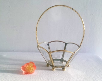 Brass and Etched Glass Basket Candy and Nut Dish