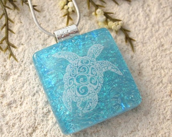 Blue Sea Turtle Necklace,Turtle Necklace, Fused Glass Pendant, Fused Glass Jewelry, Dichroic Necklace, Dichroic Glass Jewelry,  092216p101