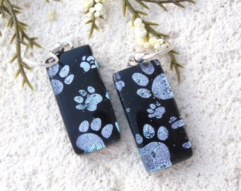 Paw Print Earrings, Silver Black Earrings, Dangle Drop Earrings, Fused Glass Jewelry, Dichroic Jewelry, Sterling , Animal Print, 101516e100c