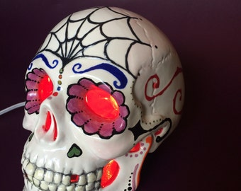 Sugar Skull Lamp Hand-painted Ceramic Day of the Dead Halloween