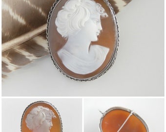Fine Sardonyx Antique Cameo - Adonis or Apollo Male Cameo Brooch - Shell Cameo Jewelry