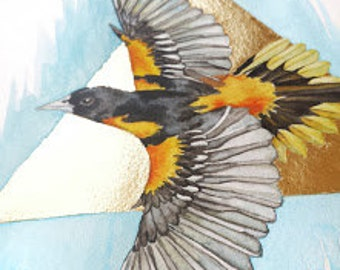 """Gilded Oriole Gold Leaf Limited Edition Watercolor Painting Art Print, Wall Decor 11""""x14"""""""