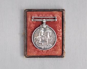 Antique WWI British War Medal - sterling silver 1914-1918 Royal Naval Reserve Stoker - Georgivs v Britt Omn Rex et Ind Imp