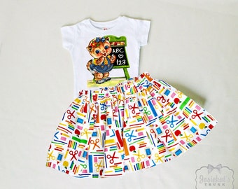 Back to School Skirt Set- Retro School Skirt Set - Girl School 6/12 month to 12 - Vintage School Kitten - First Day of School - Personalized
