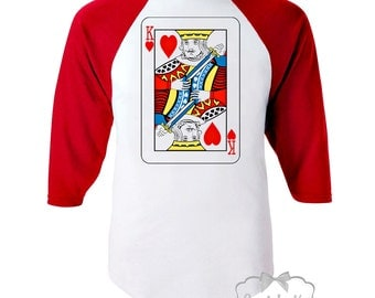 "Valentine Shirt Boy - Boys Valentine Baseball Retro Tee - ""King of hearts"" -  RED White Baseball - Size 12 Boys LARGE Ready to Ship SALE"