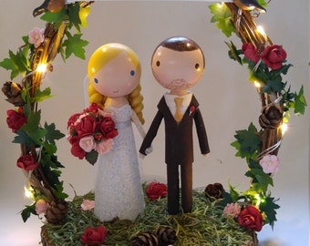 twinkle lights wedding cake topper with wood slab & twiggy arch
