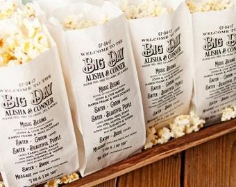 Popcorn Program Bags - Big Day Design - White food service bags -  25 per pack