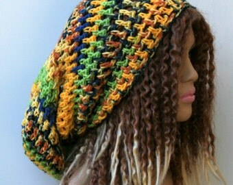 Long Slouchy beanie hat, Morning Glory Dread Tam hat, Slouchy Hippie Beanie Hat, Handmade extra slouchy beanie hat, summer hat, rasta tam