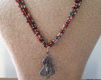 REDUCED, Bronze Metal Clay and Seed Bead Necklace, Warrior Woman Bronze Pendant with Bronze, Gold and Green Seed Bead, Etsy, Etsy Jewelry