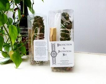 Protection + Intention Smudge Kit// Cedar// Rose//White Sage Smudge Stick//Selenite crystal wand // Palo Santo Holy Wood//