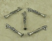 5 Clarinet Band Charms > Marching Wood Winds High School College - American Made Lead Free Pewter Silver Finish - I ship internationally