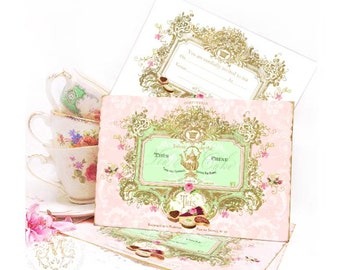 Tea party invitations, French pastry vintage cake cards in mint green pink and gold, a set of 4