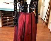 Maroon Taffeta Dickens Edwardian Walking Skirt
