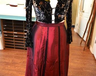 Maroon Taffeta Edwardian Walking Skirt